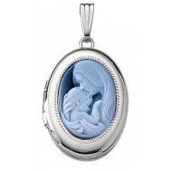14k White Gold Mother & Child Cameo Oval Photo Locket
