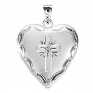 Sterling Silver Cross Heart Photo Locket with CZ
