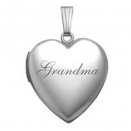 14k White Gold Grandma Heart Photo Locket