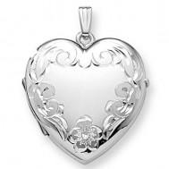 14K White Gold Floral Heart Four Photo Locket