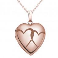 "Sterling Silver Rose Gold Plated ""Interlocking Hearts"" Heart Locket"