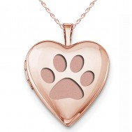 """Sterling Silver Rose Gold Plated """"Dog Paw Print"""" Heart Photo Locket"""