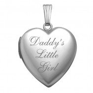 14k White Gold Daddy's Little Girl Heart Photo Locket