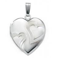 14k White Gold Double Heart Photo Locket