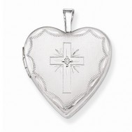 14k White Gold Cross Heart Photo Locket with Diamond