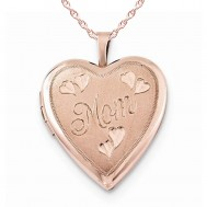 Sterling Silver Rose Gold Plated Mom Heart Photo Locket