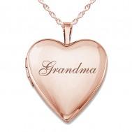 "Sterling Silver Rose Gold Plated ""Grandma"" Heart Photo Locket"