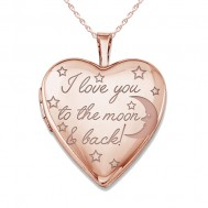 """Sterling Silver Rose Gold Plated """" To The Moon & Back"""" Heart Photo Locket"""