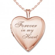 """Sterling Silver Rose Gold Plated """"Forever In My Heart"""" Heart Locket"""
