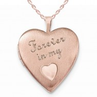 Sterling Silver Rose Gold Plated Forever in my Heart Photo Locket