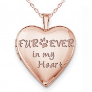 """Sterling Silver Rose Gold Plated """"Furever In My Heart"""" Heart Photo Locket"""