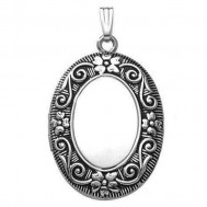 """Sterling Silver """"Antique"""" Oval Photo Locket"""