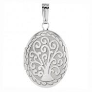 14k White Gold Tree of Life Oval Photo Locket