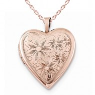 Sterling Silver Rose Gold Plated Floral Heart Photo Locket