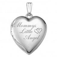 14k White Gold Mommys Little Angel Heart Photo Locket