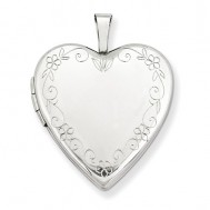 14k White Gold Floral Border Heart Photo Locket
