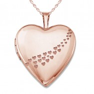 """Sterling Silver Rose Gold Plated """"Casscade of hearts"""" Heart Photo Locket"""