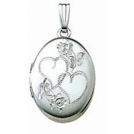 14k White Gold Double Heart Oval Photo Locket