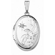 14k White Gold Engraved w/Diamond Oval Locket