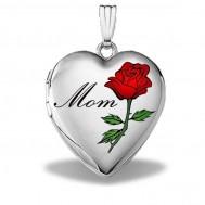14k White Gold Mom Heart Photo Locket
