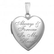 "Sterling Silver ""Always & Forever In my Heart "" Heart Photo Locket"