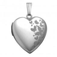 14K White Gold Butterfly Heart Photo Locket