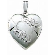 14k White Gold Heart Photo Locket