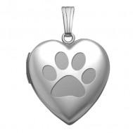14k White Gold Dog Paw Print Heart Photo Locket
