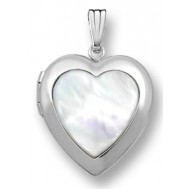14k White Gold Mother Of Pearl Heart Photo Locket