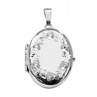 14K White Gold Floral Oval Four Photo Locket