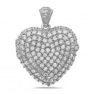 Sterling Silver Cubic Zirconia Photo Heart Photo Locket