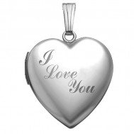 14k White Gold I Love You Heart Photo Locket