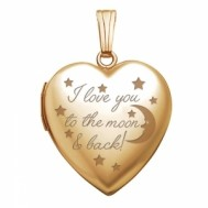 "14K Gold ""To The Moon & Back"" Heart Photo Locket"