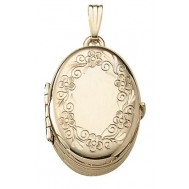 14K Yellow Gold Floral Oval Locket - Amelia