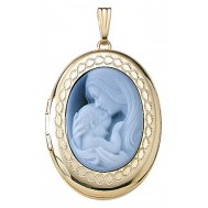 14k Yellow Gold Motherhood Cameo Oval Locket