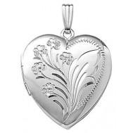 14k White Gold Floral Heart Locket - Jessica