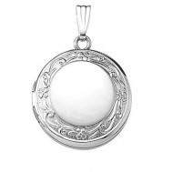14K White Gold Round Locket - Celeste