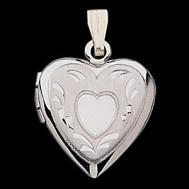 14K White Gold Small Heart Photo Locket