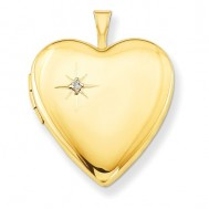 14k Gold Filled Diamond Heart Photo Locket