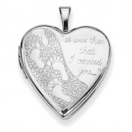 Sterling Silver Footprints Heart Photo Locket