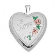 "Sterling Silver Floral ""Love"" Heart Photo Locket"