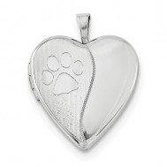 Sterling Silver Paw Print Heart Photo Locket