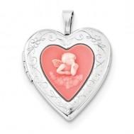 Sterling Silver Mother's Silhouette Heart Locket