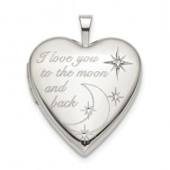 "Sterling Silver ""To The Moon"" Diamond Heart Photo Locket"