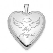 "Sterling Silver ""My Angel"" Heart Photo Locket"