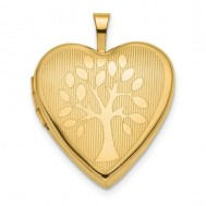 14K Gold Tree Heart Photo Locket