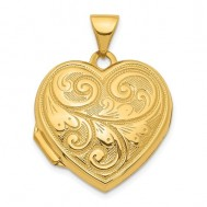 14K Gold Floral Heart Photo Locket