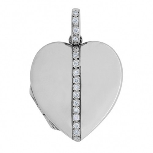 18k White Gold Diamond Heart Locket - Addison