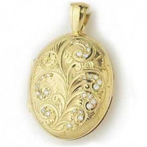 18k Yellow Gold Diamond & Hand Engraved Oval Locket