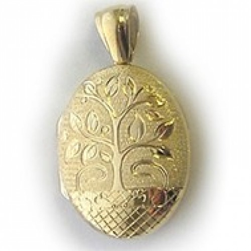 18k Yellow Gold Hand Engraved Floral Locket - Penelope